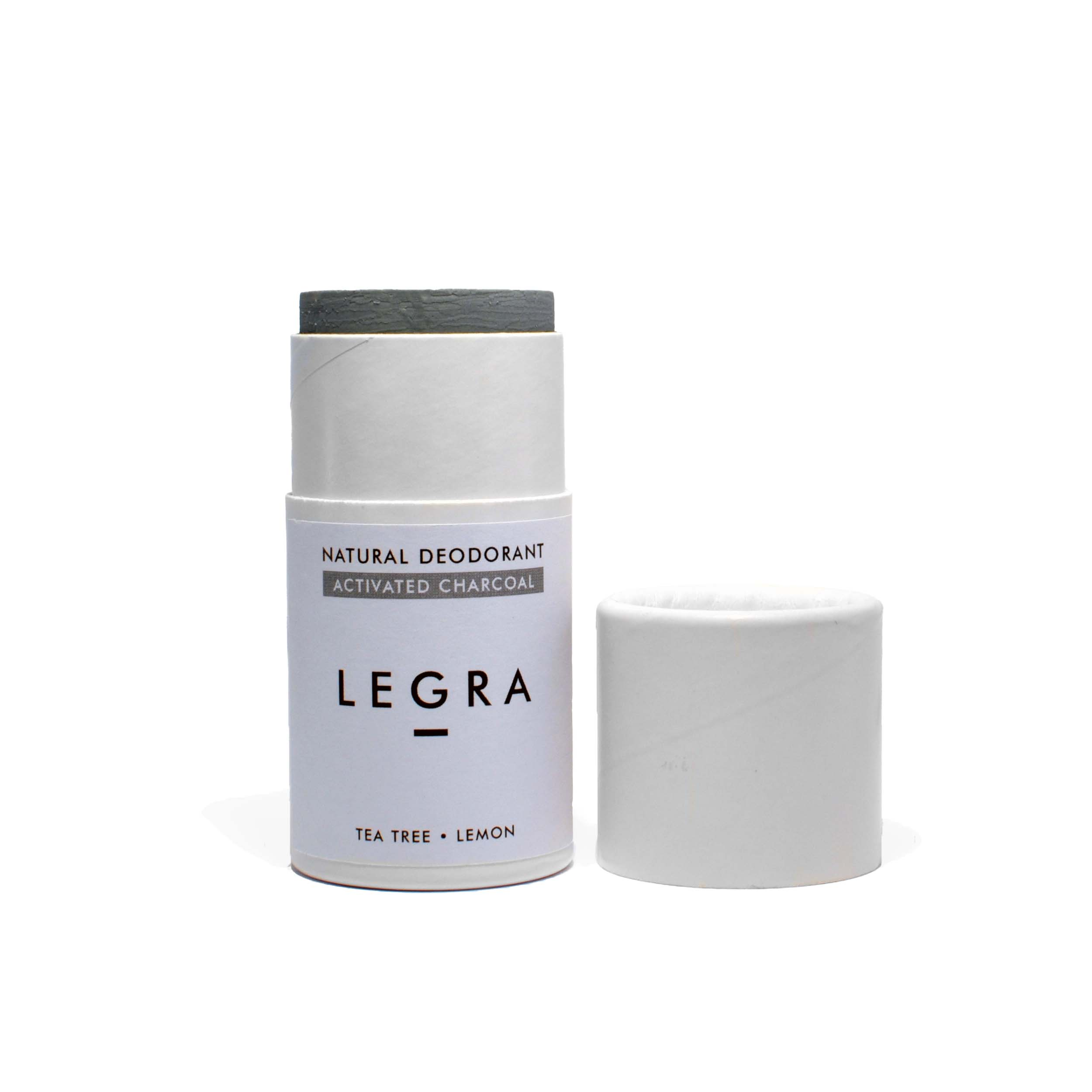 Natural Deodorant Stick with Bamboo Activated Charcoal, Tea Tree & Lemon