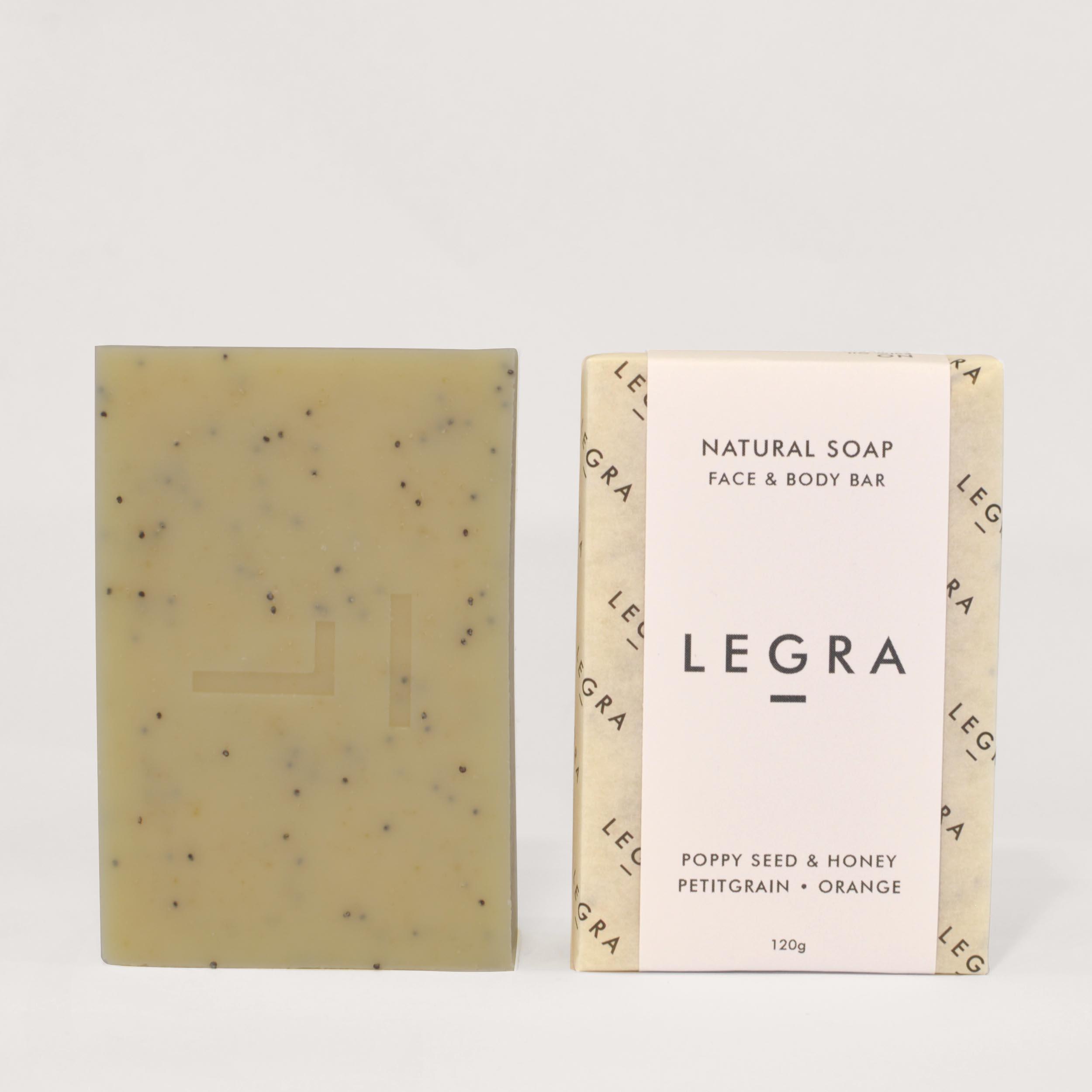 Honey & Poppyseed Soap with Petitgrain, Orange & Patchoulli